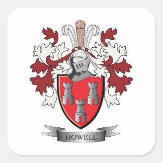 Escudo de armas del escudo de la familia de Howell Pegatina Cuadrada