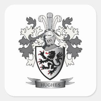 Escudo de armas del escudo de la familia de Hughes Pegatina Cuadrada