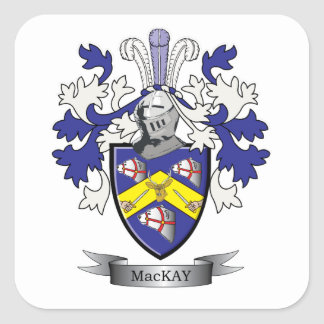 Escudo de armas del escudo de la familia de MacKay Pegatina Cuadrada