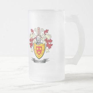 Escudo de armas del escudo de la familia de taza de cristal esmerilado