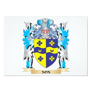Escudo de armas del hijo - escudo de la familia invitación 12,7 x 17,8 cm