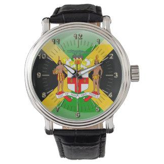Escudo de armas jamaicano reloj de pulsera