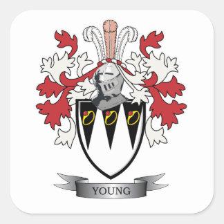 Escudo de armas joven del escudo de la familia pegatina cuadrada