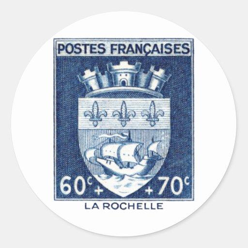 Escudo de armas, La Rochelle Francia Pegatinas Redondas