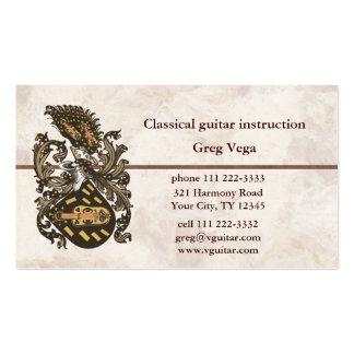 Escudo de armas musical tarjetas de visita