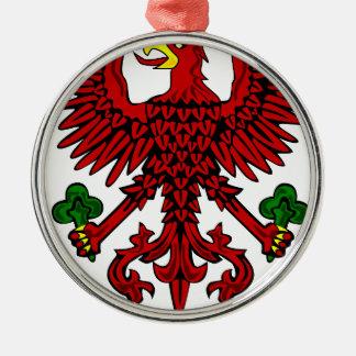 Escudo de armas polaco adorno navideño redondo de metal