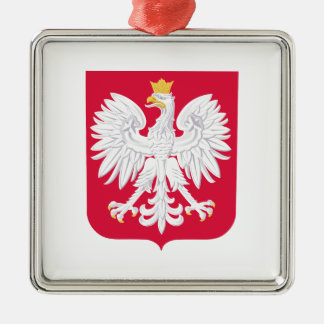 Escudo de armas polaco de Polonia Adorno Navideño Cuadrado De Metal