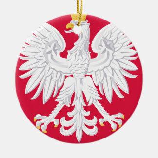 Escudo de armas polaco de Polonia Adorno Navideño Redondo De Cerámica