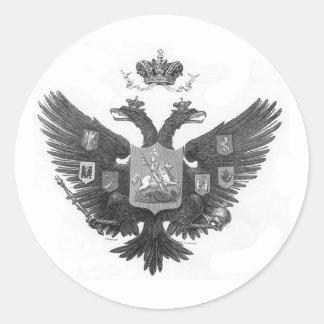 Escudo de armas ruso pegatina redonda