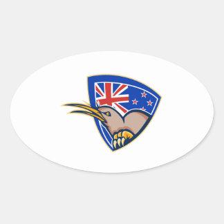 Escudo de la bandera de Nueva Zelanda del pájaro Calcomanías Ovales