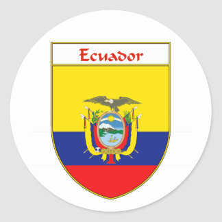 Escudo de la bandera del Ecuadorian Etiqueta Redonda