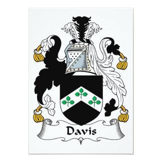 Escudo de la familia de Davis Invitación 12,7 X 17,8 Cm