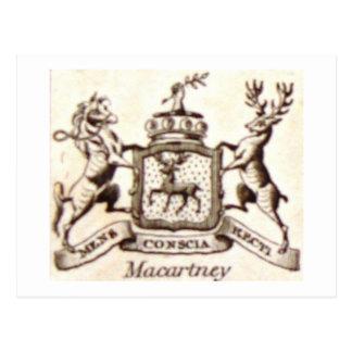 Escudo de la familia de Macartney Tarjeta Postal