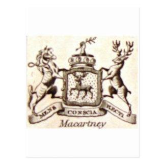 Escudo de la familia de Macartney Postal
