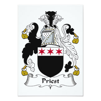 Escudo de la familia del sacerdote invitación 12,7 x 17,8 cm