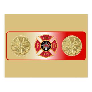 Escudo de la trompeta del bombero 4 postal