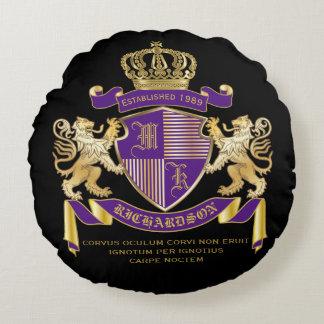 Escudo de oro del león del emblema del monograma cojín redondo