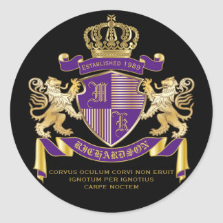 Escudo de oro del león del emblema del monograma pegatina redonda