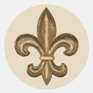 Escudo de oro francés de la flor de lis pegatina redonda