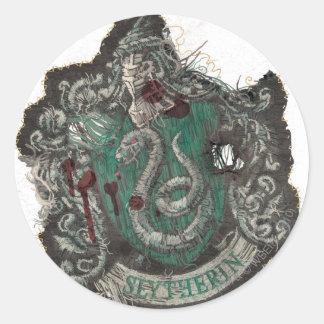 Escudo de Slytherin - destruido Pegatina Redonda