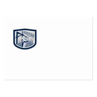 Escudo del andamio del trabajador de construcción  plantillas de tarjeta de negocio