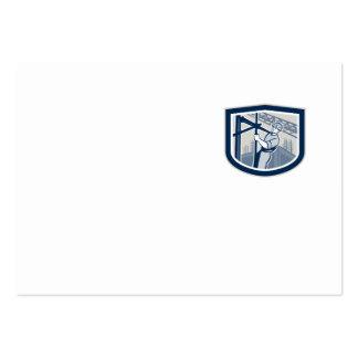Escudo del andamio del trabajador de construcción tarjetas de visita grandes
