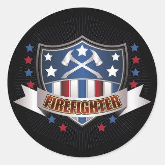Escudo del bombero pegatina redonda