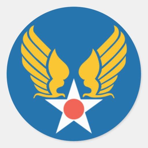 Escudo del cuerpo de aire del ejército etiqueta redonda
