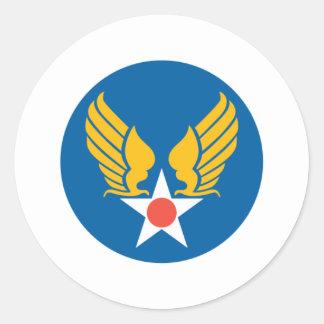 Escudo del cuerpo de aire del ejército pegatina redonda