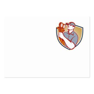 Escudo del mecánico del aire acondicionado de la r tarjetas de visita