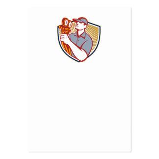 Escudo del mecánico del aire acondicionado de la r plantilla de tarjeta de visita