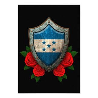 Escudo gastado de la bandera de Honduras con los Invitación 8,9 X 12,7 Cm