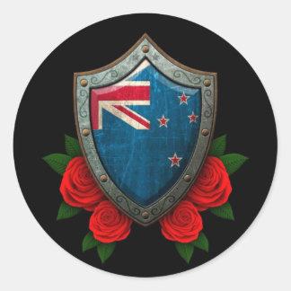 Escudo gastado de la bandera de Nueva Zelanda con Etiqueta Redonda
