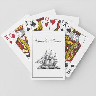 Escudo náutico de la nave de podadoras del vintage baraja de cartas