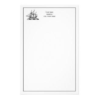 Escudo náutico de la nave de podadoras del vintage papelería