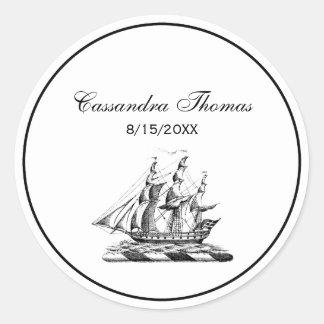 Escudo náutico de la nave de podadoras del vintage pegatina redonda