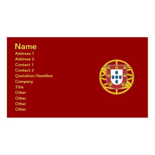 Escudo portugués tarjetas de negocios