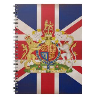 Escudo real en la unión gato cuaderno