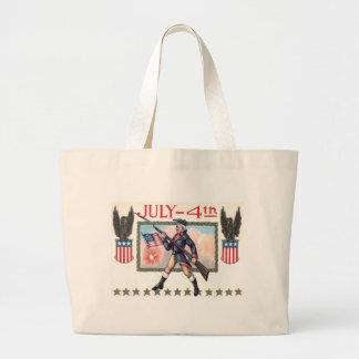 Escudo revolucionario de la bandera americana del bolsa tela grande