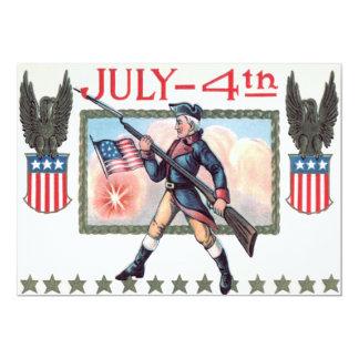 Escudo revolucionario de la bandera americana del invitación 12,7 x 17,8 cm