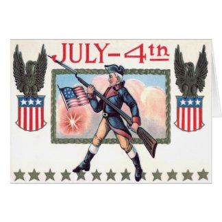 Escudo revolucionario de la bandera americana del tarjeta de felicitación