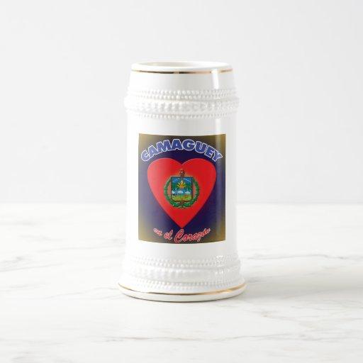 Escudo w/background - cerveza del EL Corazon del e Taza De Café