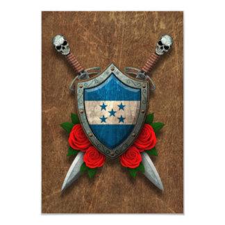 Escudo y espadas envejecidos de la bandera de invitación 8,9 x 12,7 cm
