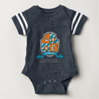 Escudos de armas de los muchachos del nombre y del body para bebé