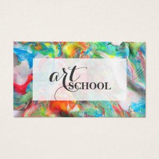 Escuela de arte coloreada del Plasticine - tarjeta