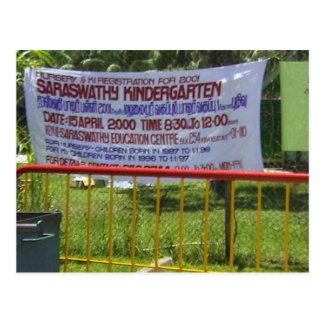 Escuela de la guardería del templo hindú postal