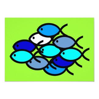Escuela de los símbolos cristianos de los pescados invitación 12,7 x 17,8 cm