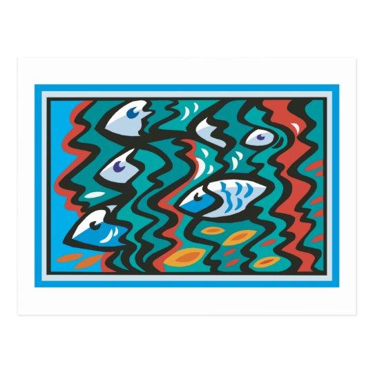 Escuela de pescados postal