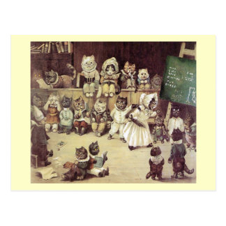 Escuela del gato por la postal de Louis Wain