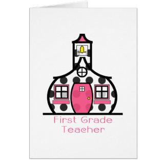 Escuela del lunar del profesor del primer grado tarjetón